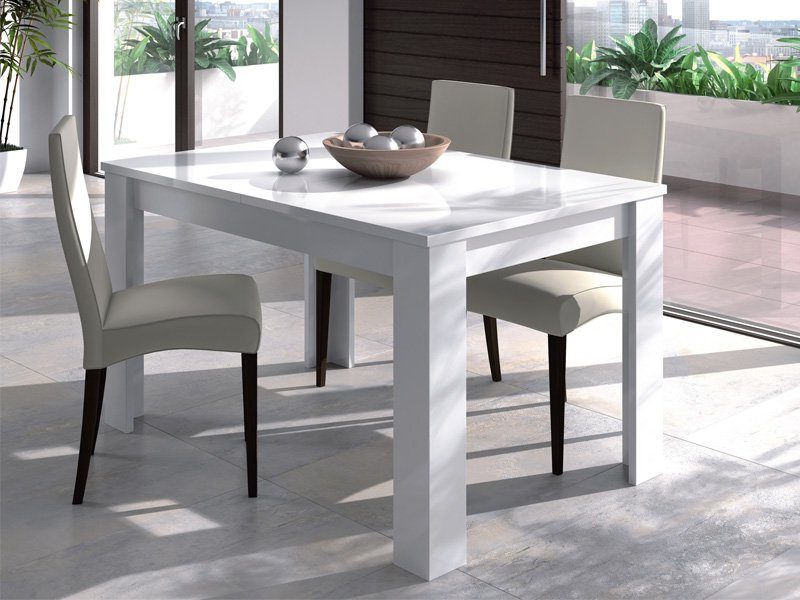 Mesa Salon Blanca U3dh Mesa De Salà N Extensible Blanco Con Apertura Central 165 X 76 5 X 85