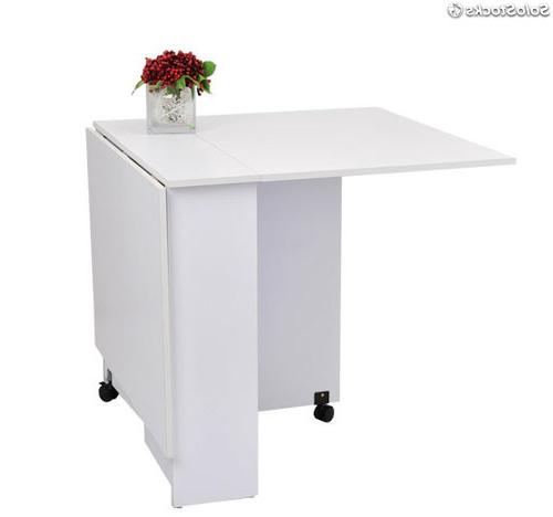Mesa Salon Plegable Qwdq Hom Mesa Edor Plegable Con Ruedas Estanteria Blanco Cocina