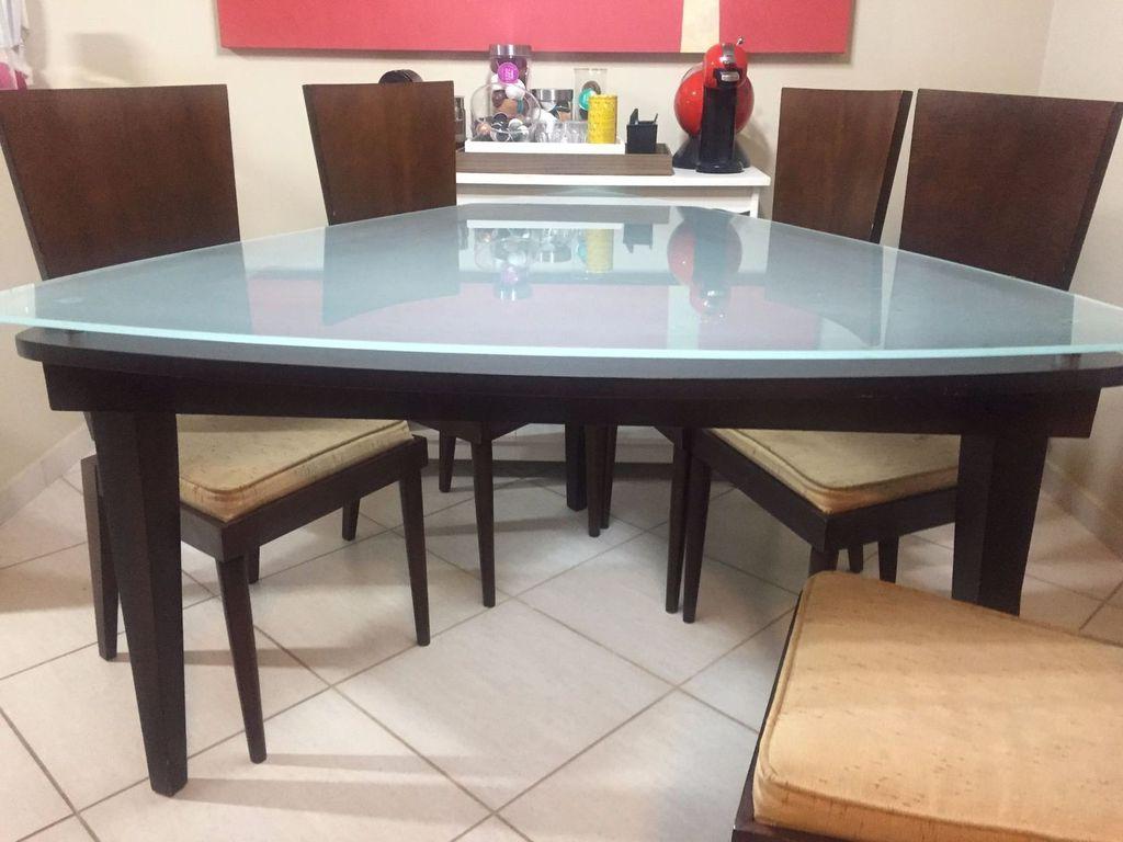 Mesa Triangular Q0d4 Mesa De Jantar Triangular 6 Cadeiras Desapega