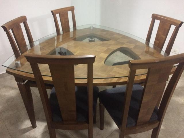 Mesa Triangular Tldn Mesa Triangular Tampo Vidro 6 Cadeiras E Aparador R 1 350 00