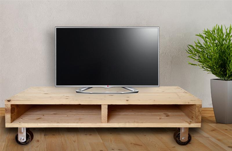 Mesa Tv Palets Gdd0 Mesa Tv Con Palet Y 4 Ruedas De Hierro 55 X 115 X 28