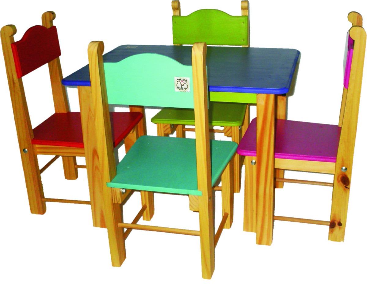 Mesa Y Silla Infantil Wddj Mesa Y 4 Sillas Infantiles LÃ Nea Standard 4 209 00 En Mercado Libre