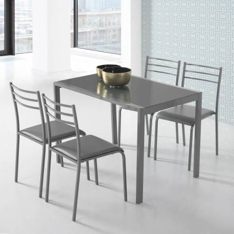 Mesa Y Sillas Cocina Ffdn Mesa De Cristal Y 4 Sillas De Cocina En Color Gris Con Estructura Metà Lica Y asientos Polipiel Barata Funcional Y Actual