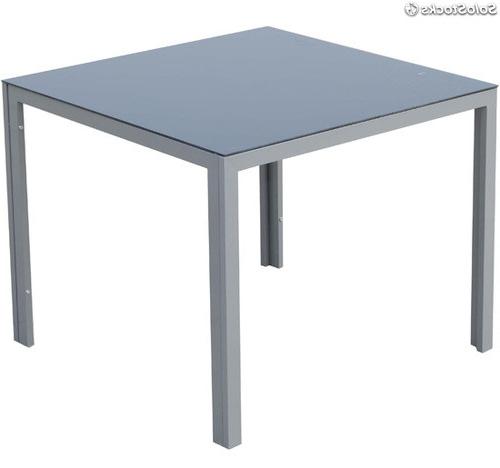 Mesas De Aluminio 0gdr Mesa Jardà N De Aluminio Con Vidrio Negro Medidas 90 X 90 Cm Para