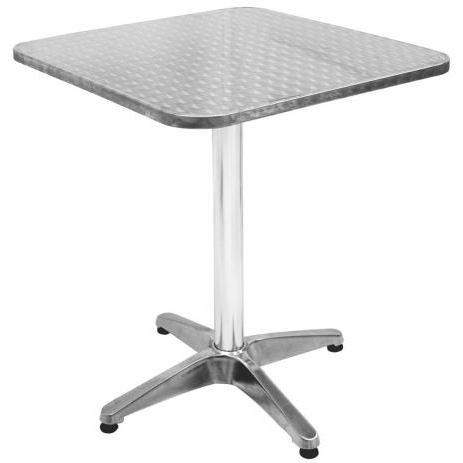 Mesas De Aluminio 4pde Mesa Quadrada Em Alumà Nio Tampo Mdf E Inox 60cm 9112 Mor