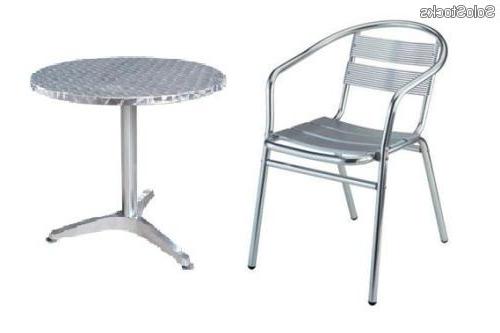 Mesas De Aluminio 8ydm Conjunto De 4 Sillas De Aluminio Y Mesa Redonda 60cm Mod Sa02 Mr60