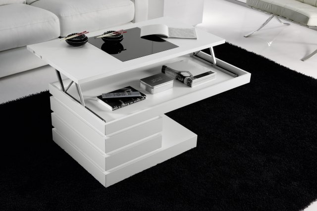 Mesas De Centro Abatibles Ipdd Mesa De Centro Elevable Blanco Lacado Muebles Xikara