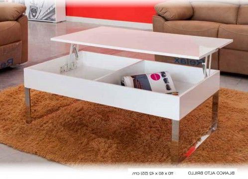Mesas De Centro Ofertas J7do Mesa Centro Moderna Elevable Lacado Blanco Con Patas