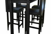 Mesas De Cocina Altas Etdg Detalles De Vidaxl Mesa De Bar Y 4 Sillas Altas Madera Negro Set Taburete Cocina Desayuno