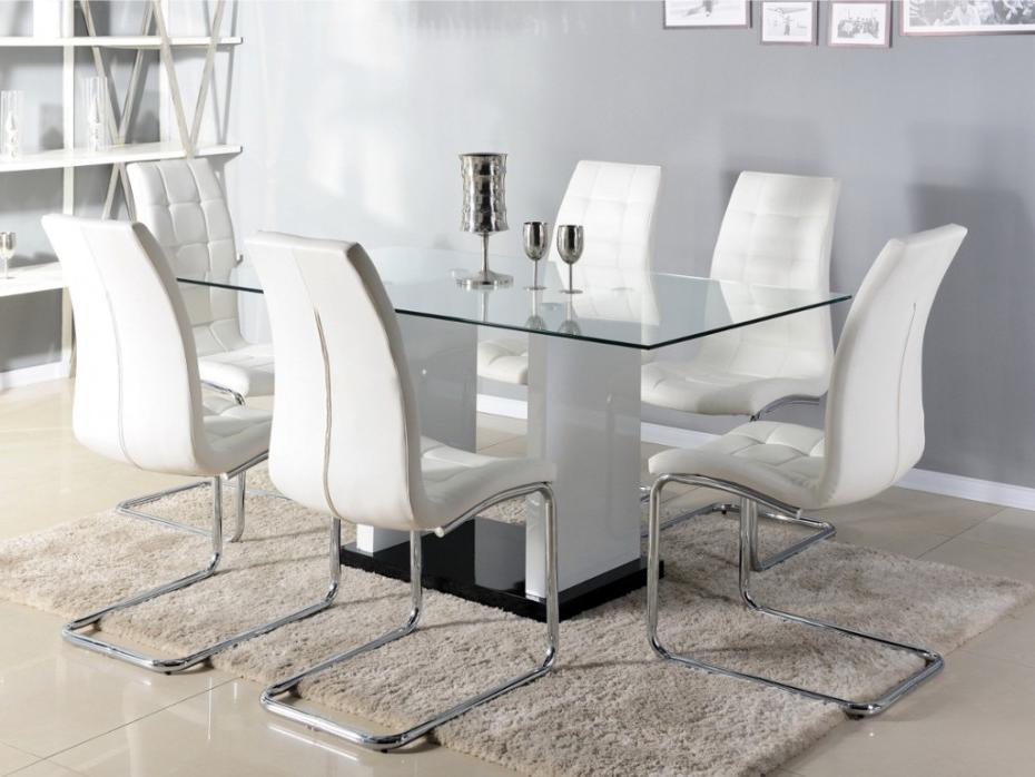 Mesas De Comedor Cristal 8ydm Mesa 6 Ensales Cristal Templado Mdf Lacado Blanco Marisa