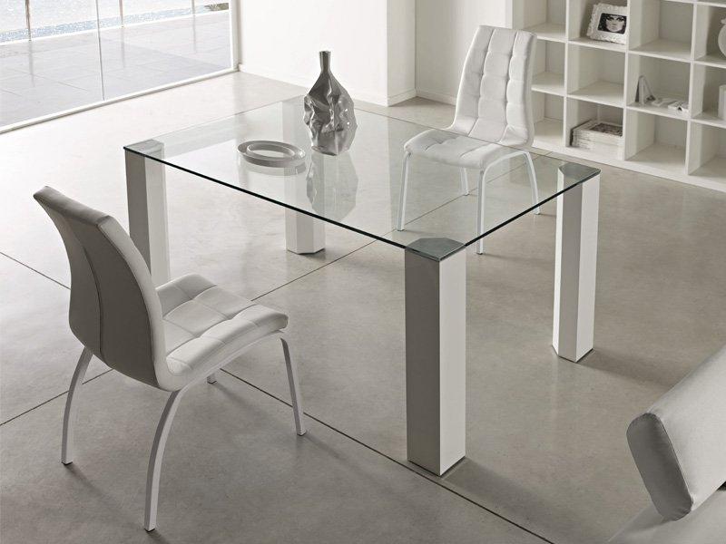 Mesas De Comedor Cristal Mndw Mesa Para Edor En Cristal Transparente 14mm Patas De Aluminio