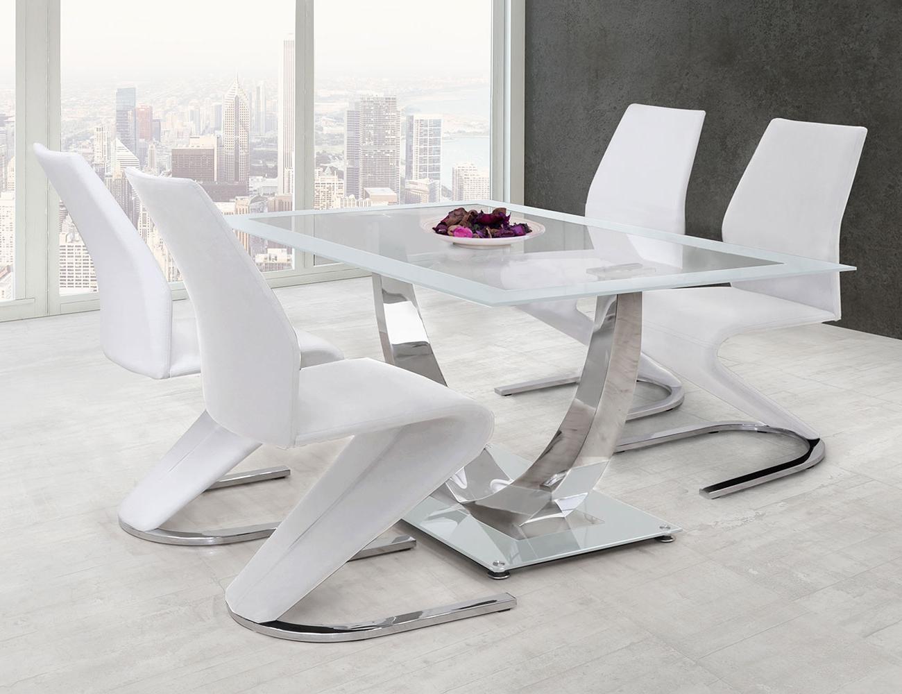 Mesas De Comedor De Cristal Ffdn Mesa De Edor De Cristal Templado Decorativa En Blanco