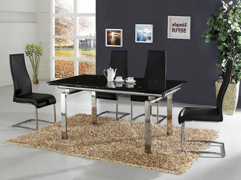 Mesas De Comedor De Cristal Q5df Mesa De Edor Cromada Con Cristal Negro Templado De Seguridad
