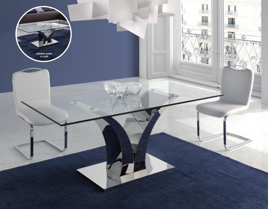 Mesas De Comedor De Cristal Zwdg Mesa Edor En Acero Y Cristal Templado Modelo Cala