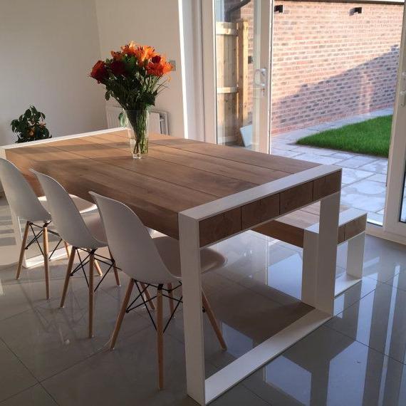 Mesas De Comedor Grandes D0dg Handmade Dining Set Steel Timber Table ...