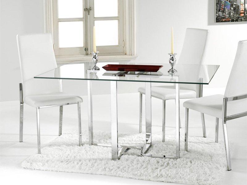 Mesas De Cristal Para Comedor 87dx Mesa De Cristal Para Edor Con Estructura Cromada Blanca O Negra