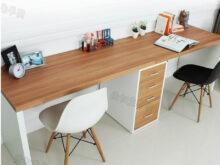Mesas De Escritorio Ikea 4pde Doble Larga Mesa Escritorio De La Putadora De Escritorio En Casa