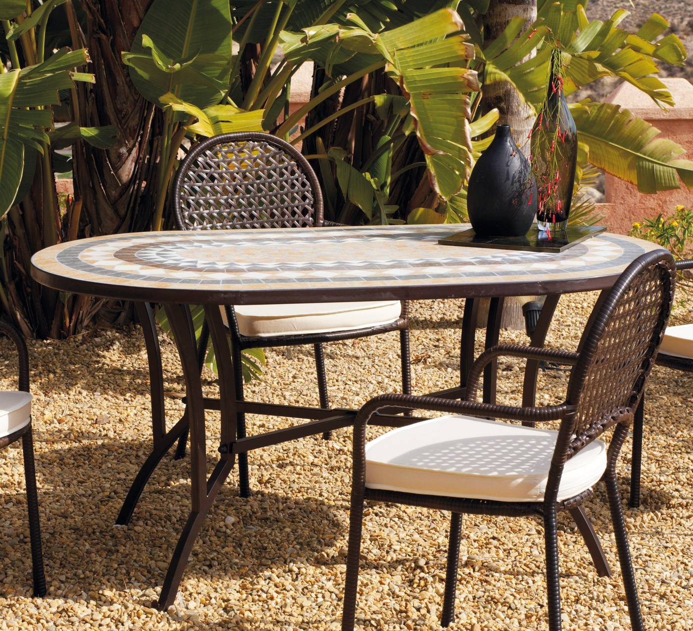 Mesas De forja Para Jardin O2d5 Mesa Mosaico Oasis 150 De Hevea Terraza Jardà N forja Mosaico