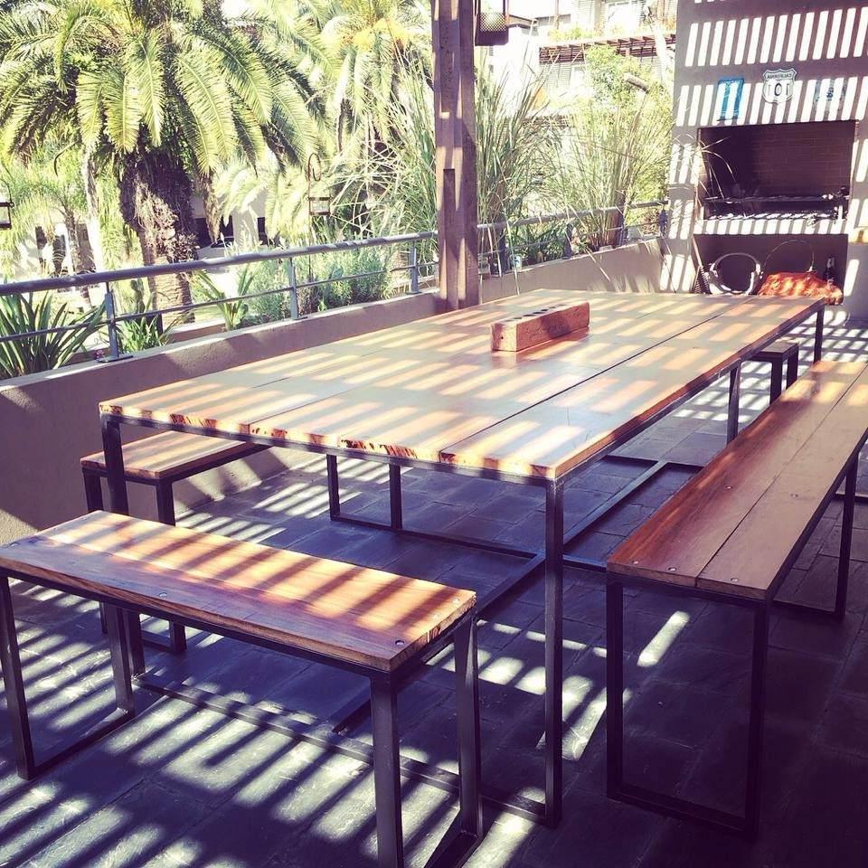 Mesas De Madera Exterior Dwdk Mesa Exterior Hierro Y Madera Grande 17 100 00 En Mercado Libre