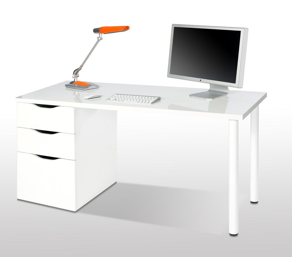 Mesas De ordenador Baratas Ffdn Mesa ordenador Blanco Brillo Reversible