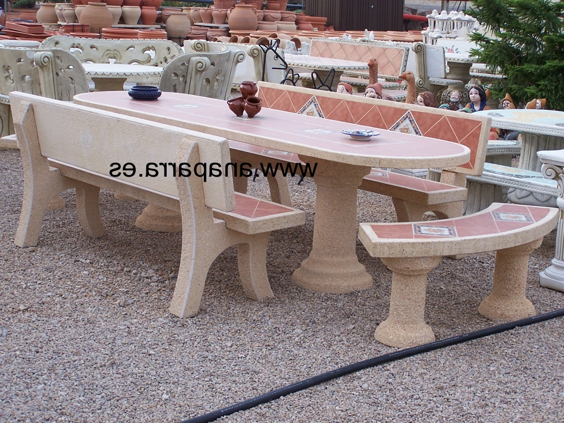 Mesas De Piedra Para Jardin Jxdu Mesa Grande De Jardin Exterior En Piedra Oval 300cm Y 6 Bancos Ana