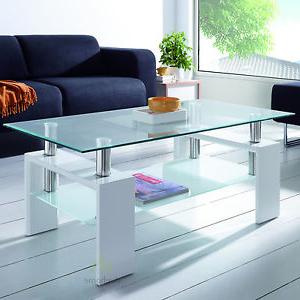 Mesas De Salon De Cristal 87dx Mesa De Centro Cristal Y Lacada En Blanco Brillo Mesas Salon Ebay