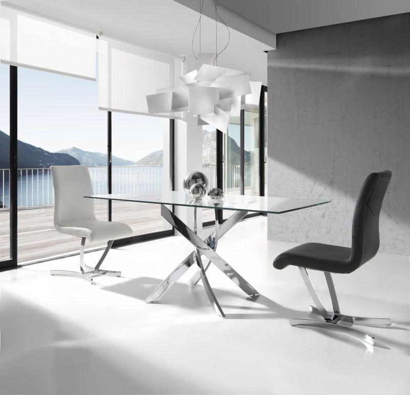 Mesas De Salon De Cristal Gdd0 Mesa Edor Rectangular Tapa Cristal Transparente Pie Cromado Ngl0050