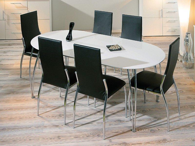 Mesas Ovaladas Ipdd Mesa De Edor Blanca Extensible En Oferta Con Apertura Central
