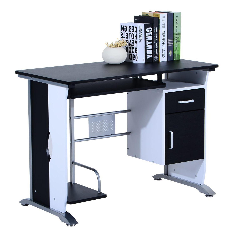 Mesas Para ordenador Ftd8 Mesa De ordenador Siam En Madera Color Negro Mesa Para ordenador