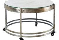 Mesas Plateadas Jxdu Mesa Con Reloj De Metal Plateado Industrial A Home