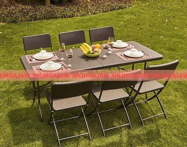 Mesas Plegables Terraza Y7du Set Mesa Plegable 180mts 6 Sillas De Rattan Jardin Terraza
