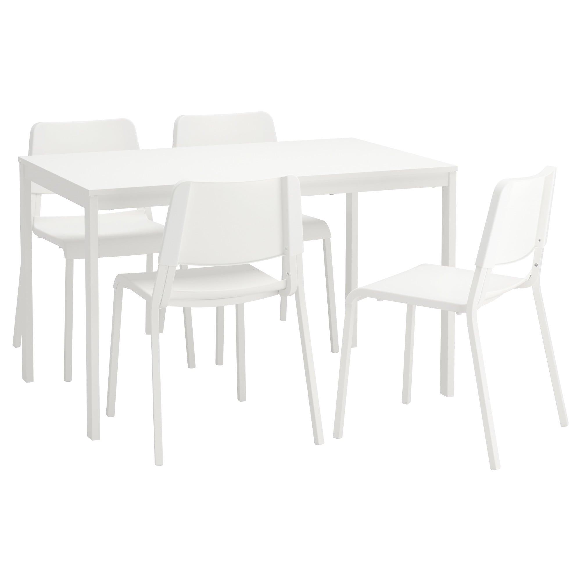 Mesas Y Sillas Ikea Txdf Teodores Vangsta Mesa Con 4 Sillas Blanco Blanco 120 180 Cm Ikea