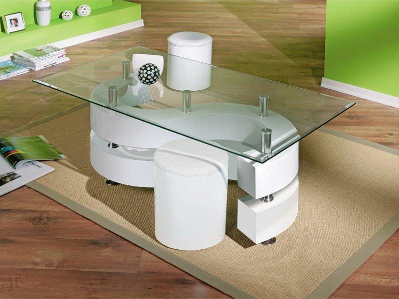 Mesita Centro Q5df Mesita De Cristal Con Puffs Para Centro Del Hogar Modo Serpentina