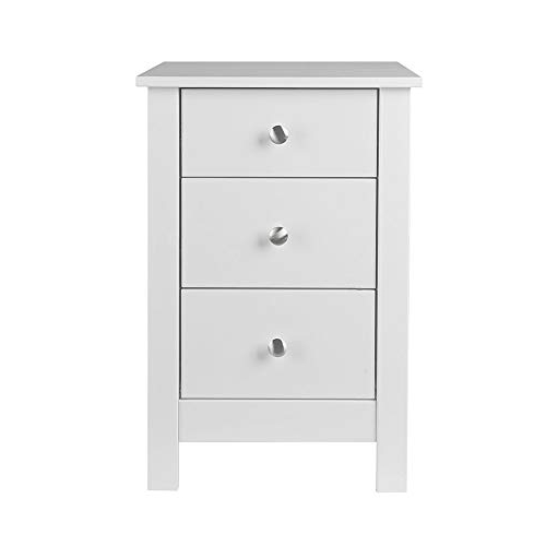 Mesita Noche Blanca Gdd0 Nja Furniture Shaker Mesilla De Noche Con 3 Cajones 40 X 40 X 60 Cm Blanco