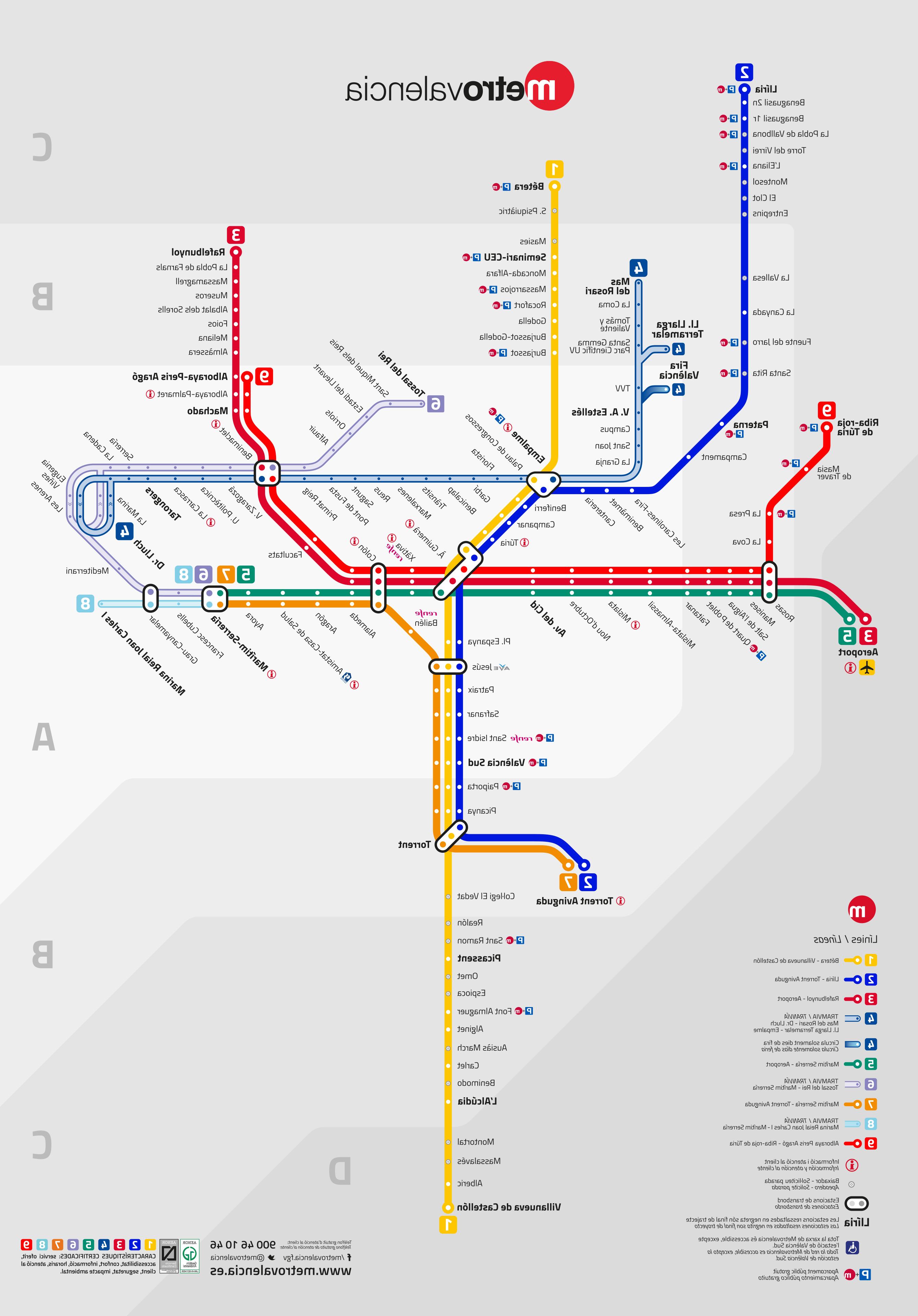 Metro Horario Valencia Bqdd Mapa Del Metro De Valencia Espaà A