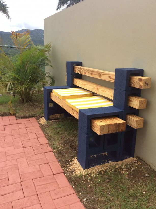 Mobiliario Jardin 9ddf Concrete Block and Wood Bench Outdoorwood Patio Y Jardin