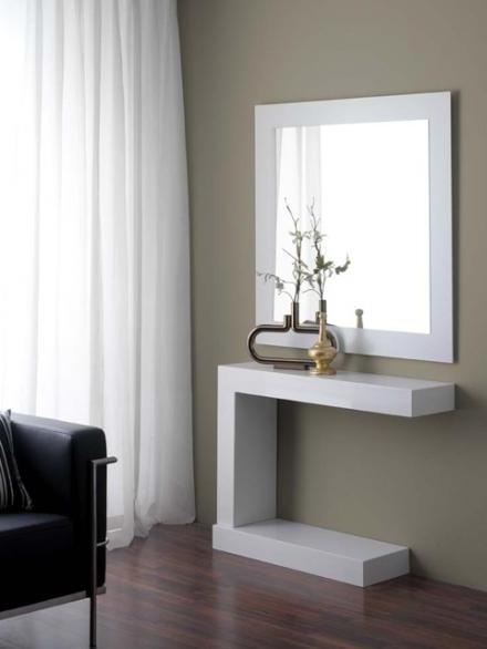 Mueble Auxiliar Recibidor Zwd9 Modelo 870 Novedad Recibidor De MÃ Rmol Pacto Blanco Con Espejo