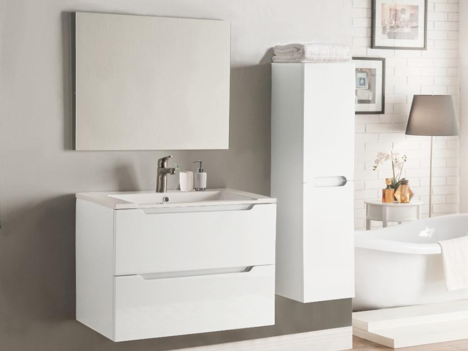 Mueble Baño Con Lavabo Ffdn Conjunto Stefanie Muebles Para Baà O Y Espejo Lacado Blanco
