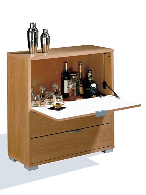 Mueble Bar Para Salon 9ddf Abitti Mueble Bar Auxiliar Con Barra Abatible Y Dos Cajones Color Cerezo Para Salones O Dormitorios Medida 81x84