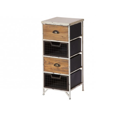 Mueble Cajones Etdg Mueble Auxiliar Bicolor De Estilo Vintage Con 4 Cajones