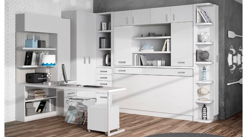 Mueble Cama Abatible Horizontal S5d8 Cama Abatible Horizontal Con Estantes Y Dos Armarios Arriba sofas