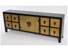 Mueble Japones S5d8 Mb Negra Mueble De Tv Estilo Japones U oriental 4 Cajones Y 2