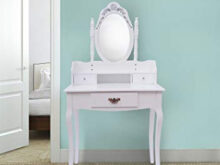 Mueble Maquillaje Zwdg Hom tocador Espejo Y Taburete Color Blanco Mueble De Maquillaje