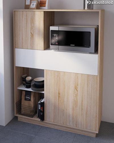 Mueble Microondas Ffdn Mueble Armario Microondas Cocina Color Roble Y Blanco Puertas Y