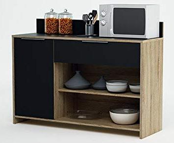 Mueble Microondas S5d8 Mueble Auxiliar Para Microondas O Aparador Color Roble Y Negro