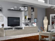 Mueble Salon Blanco Y Madera Zwd9 Mueble Salà N Moderno Color Madera aserrada Clara Y Blanco Nkc16