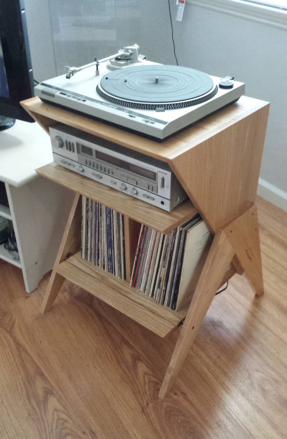 Mueble tocadiscos Rldj solid ash Wood Record Player Stand Vinyl Lp Storage Cabinet Lp