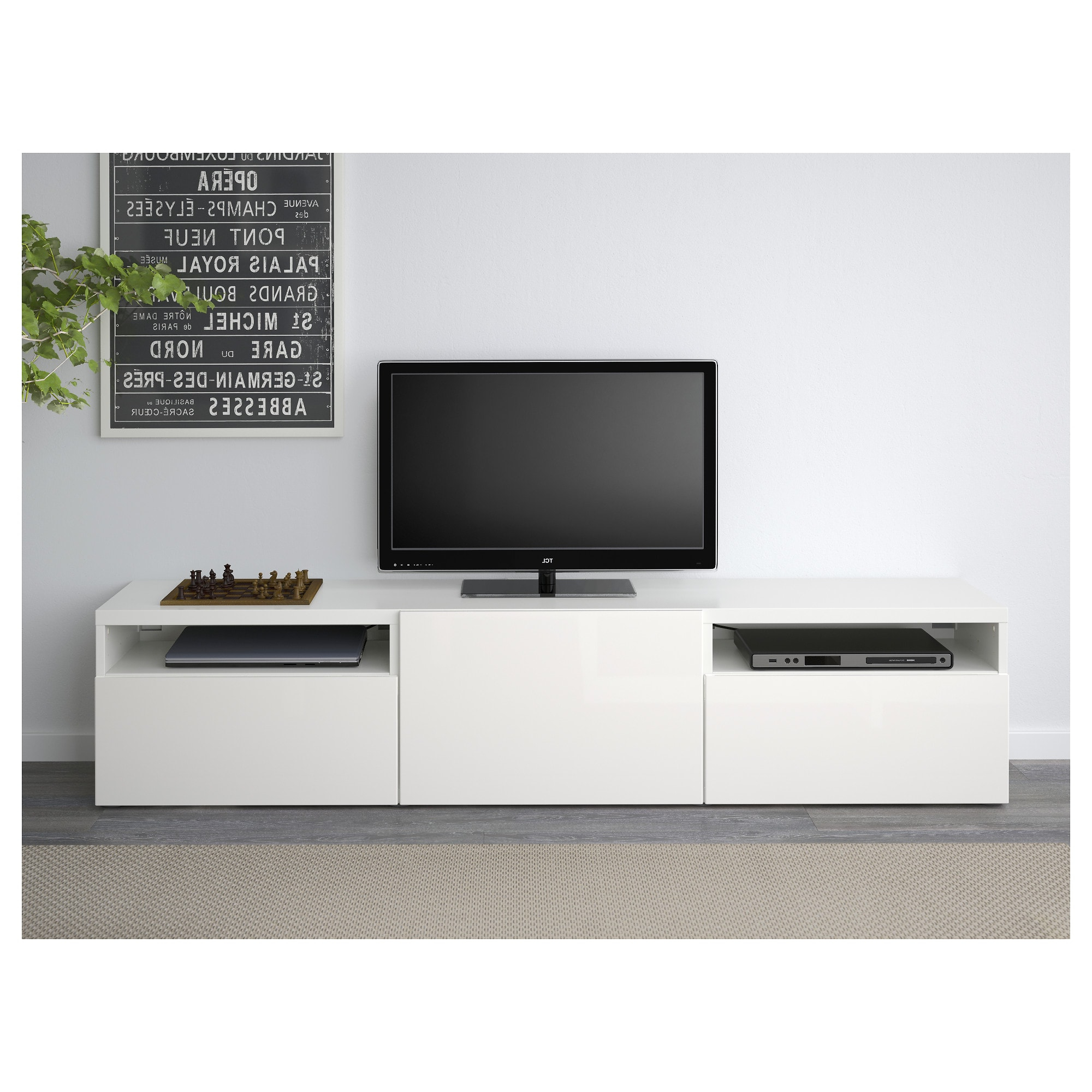 Mueble Tv Besta Mndw Bestà Mueble Tv Blanco Selsviken Alto Brillo Blanco 180 X 40 X 38 Cm
