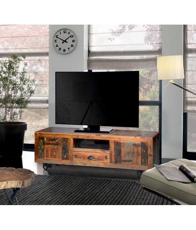 Mueble Tv Con Ruedas Gdd0 Prar Mueble De Tv Vintage En Madera Reciclada Con Ruedas