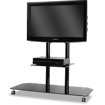 Mueble Tv Con Ruedas Thdr soporte De Pie Tv Cristal Aluminio Con Ruedas Negro Mueble